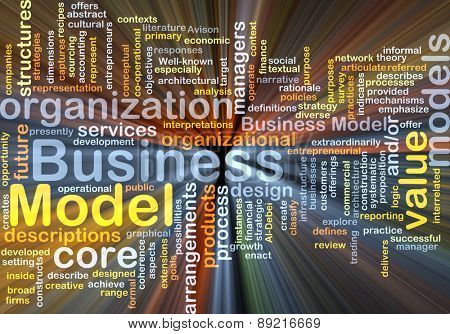 Background concept wordcloud illustration of business model glowing light