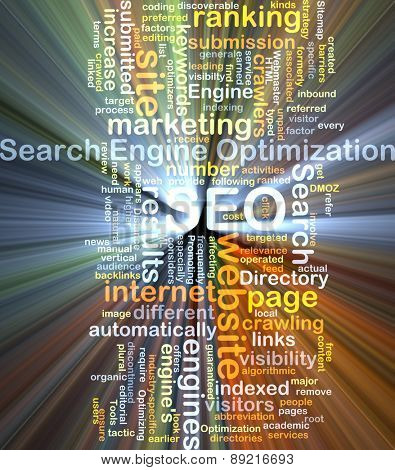 Background concept wordcloud illustration of search engine optimization SEO glowing light
