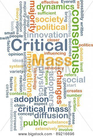 Background concept wordcloud illustration of critical mass concept