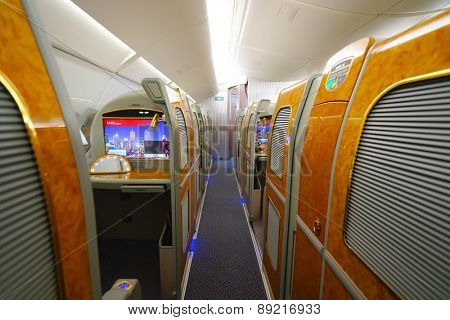 BANGKOK, THAILAND - MARCH 31, 2015: Emirates Airbus A380 interior. Emirates is one of two flag carriers of the United Arab Emirates along with Etihad Airways and is based in Dubai.