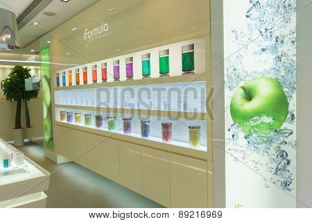 HONG KONG - APRIL 16, 2015: cosmetics boutique interior. Hong Kong�¢??s cosmetics market is highly competitive and having no sales taxes