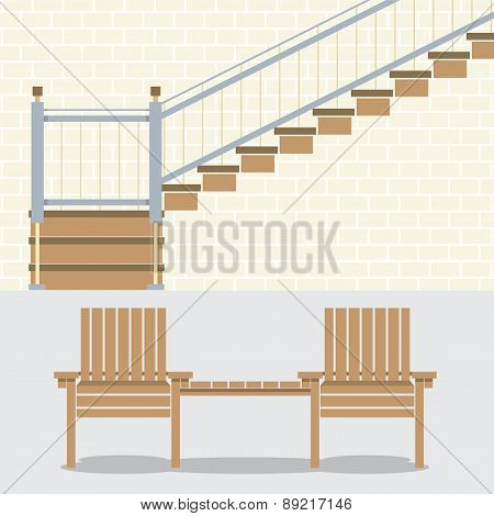 Interior Bricks Wall With Stairs And Wooden Chairs.
