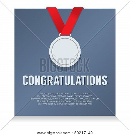 Silver Medal With Congratulations Card.
