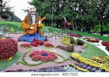 Ukrainian cossack from banbury. Flower sculpture