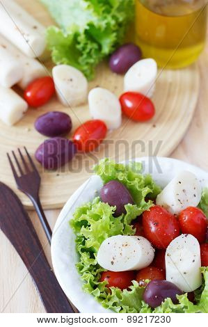 Salad Of Heart Of Palm (palmito), Cherry Tomatos, Hydroponic, Olives