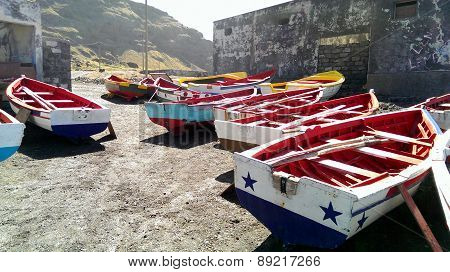 Colorful Wooden Fishing Boats