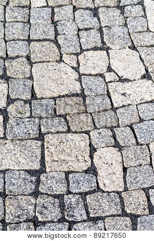 Cobblestones Of A Street In Detail.
