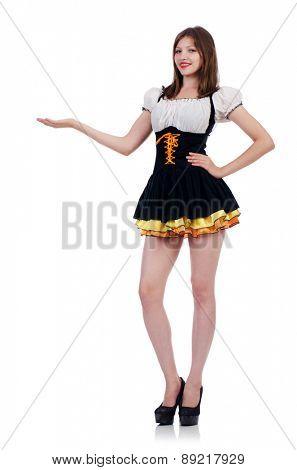 Girl in bavarian costume isolated on white
