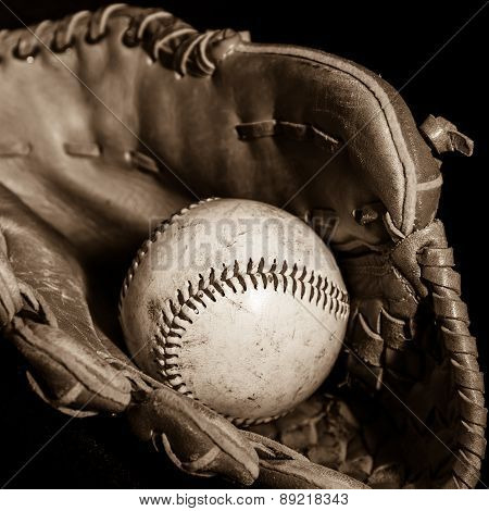 Baseball Glove And Ball In Sepia