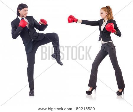 Two people boxing each other isolated on white