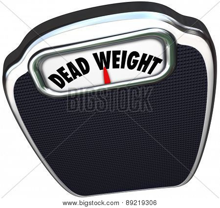 Dead Weight words on a scale to illustrate a useless, inefficient or heavy burden or impediment to success