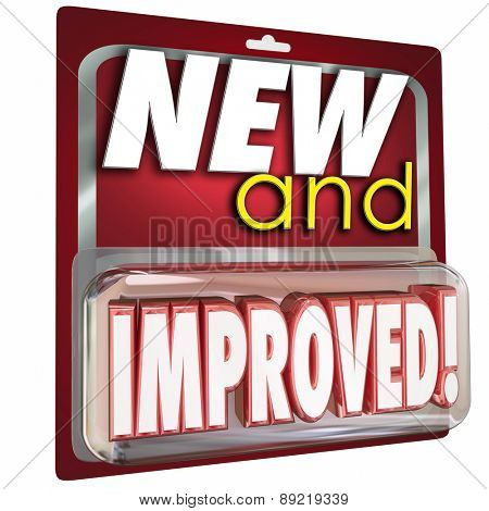 New and Improved words in red product package to illustrate an item or merchandise that is latest update available to buy