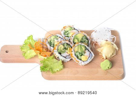 Set Of Boston Sushi Rolls On A Wooden Board On White Background