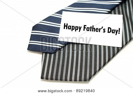 Happy Father's Day Concept With Two Pinstripe Ties On White Background