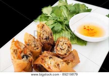 Vietnamese Vegeratian Egg Rolls, Cha Gio Chay On Black Background