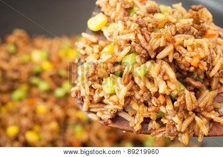 Chinese Fried Rice Closeup Studio Shot