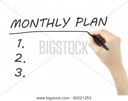 Monthly Plan Words Written By Man's Hand