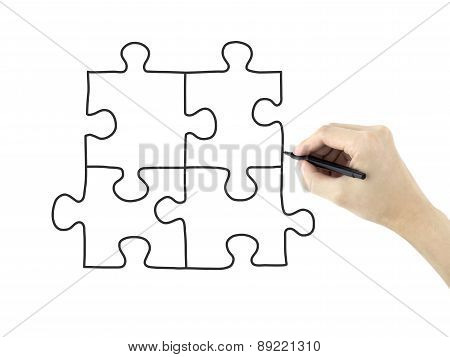 Blank Puzzle Drawn By Man's Hand