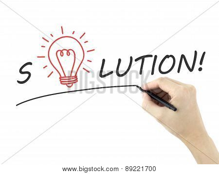 Solution Word Written By Man's Hand