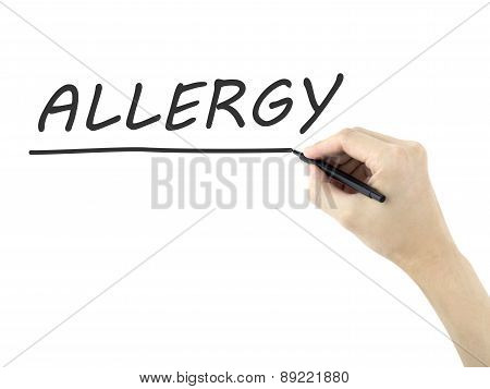 Allergy Word Written By Man's Hand