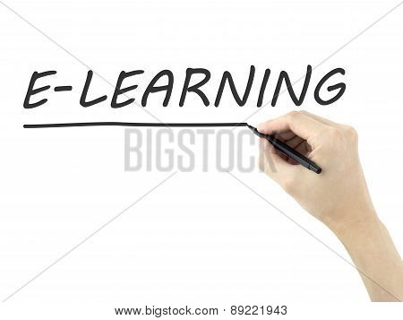 E-learning Word Written By Man's Hand