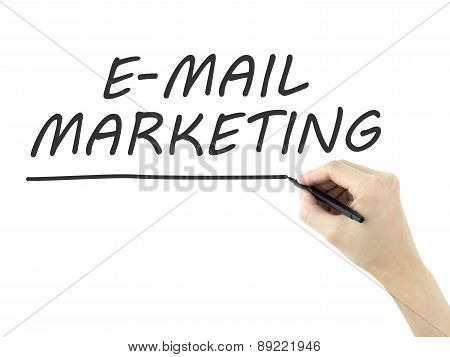 E-mail Marketing Words Written By Man's Hand
