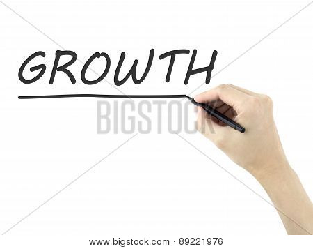Growth Word Written By Man's Hand