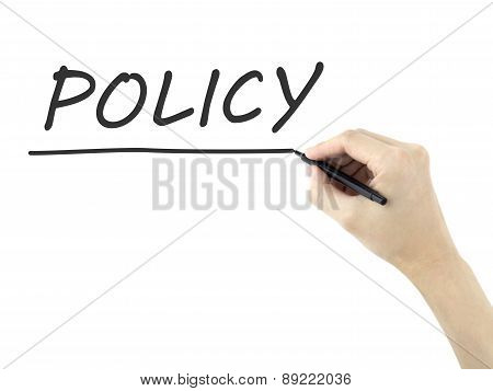 Policy Word Written By Man's Hand