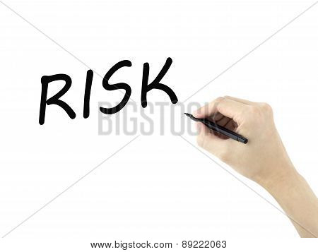 Risk Word Written By Man's Hand