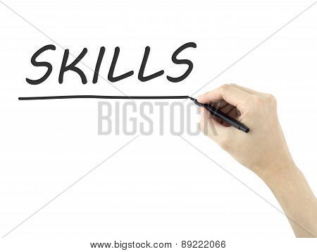 Skills Word Written By Man's Hand