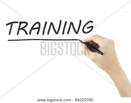 Training Word Written By Man's Hand