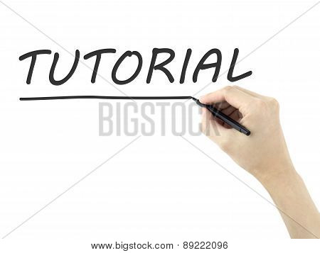 Tutorial Word Written By Man's Hand