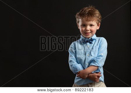 Young Blonde Boy In Bow Tie