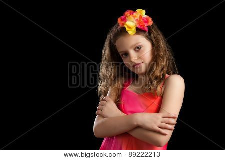 Young Girl Vibrant Dress Arms Crossed