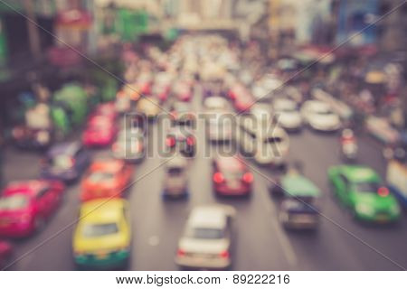 Blur Of Car And Traffic Jam In Bangkok, Thailand