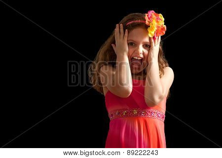 Girl In Vibrant Dress Acting Scared