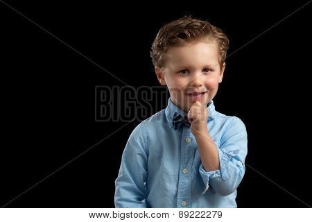 Young Blonde Boy Bow Tie Hand Chin