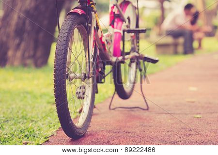 Close Up Bicycle In The Park