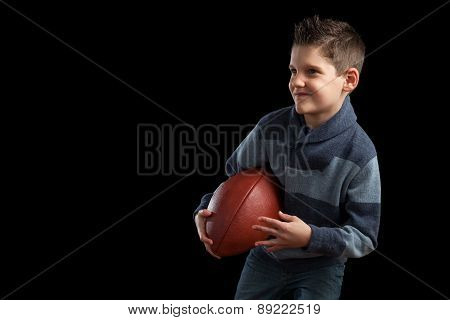Boy Holding Football And Posing