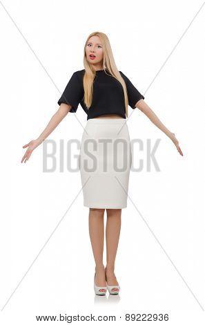 Elegant blonde girl isolated on white
