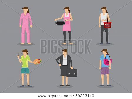Woman In Different Outfits For Different Roles And Responsibilities