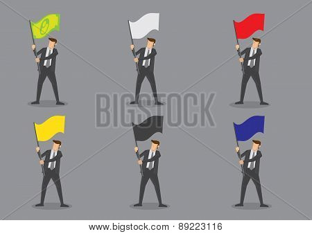 Businessman With Flags Vector Characters