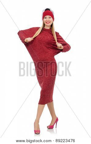 Pretty young woman in ruby dress isolated on white
