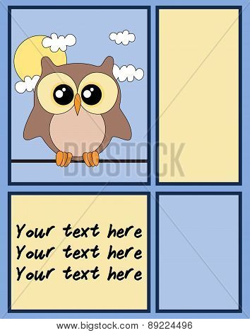 Cute Owl Card With Copy Space.