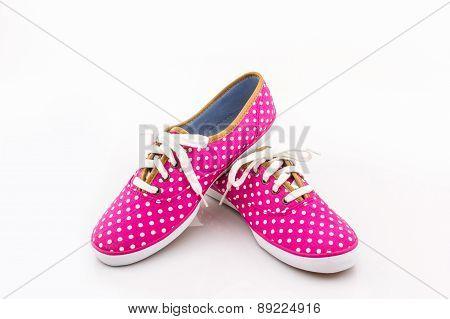 Pink Polka Dot Canvas Shoe.