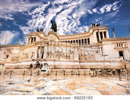 The Altare della Patria or Altar of the Fatherland against blue sky