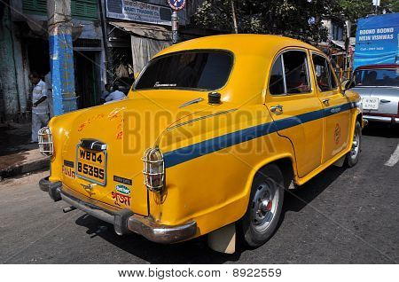 Indian Taxi In Traffic Jam