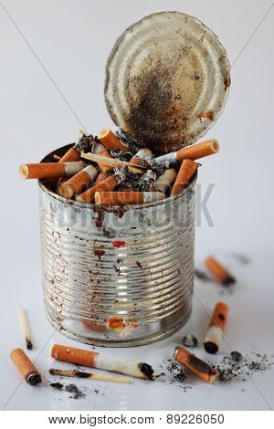 Cigarette Butts In The Ashtray Bank