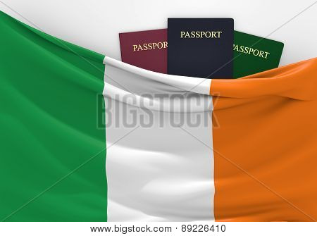 Travel and tourism in Ireland, with assorted passports