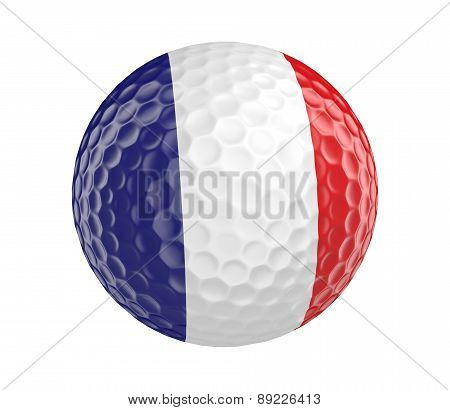 Golf ball 3D render with flag of France, isolated on white